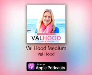 This is an image that promotes Val Hood's podcasts that are available on iTunes